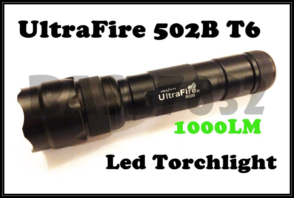 Ultrafire 502B Flashlight Torchlight T6 LED Torch Light Bulb 5-Mode
