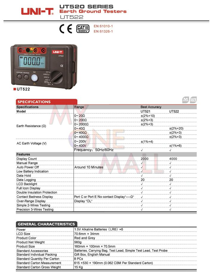 UNI-T EARTH GROUND TESTER UT522