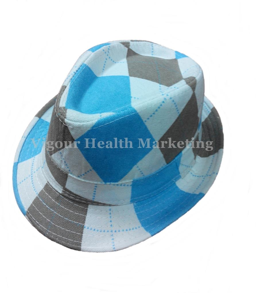 Unisex Korean Trilby Hat / Jazz Hat / Summer Hat - Blue + White + Grey