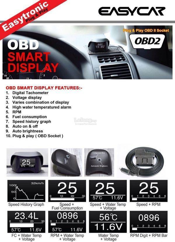 Universal EASYCAR OBDII Plug&Play Smart Display Racing Monitor