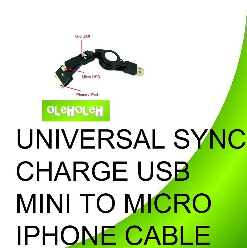 Universal Sync Charge USB To Micro USB Mini USB iPhone Cable