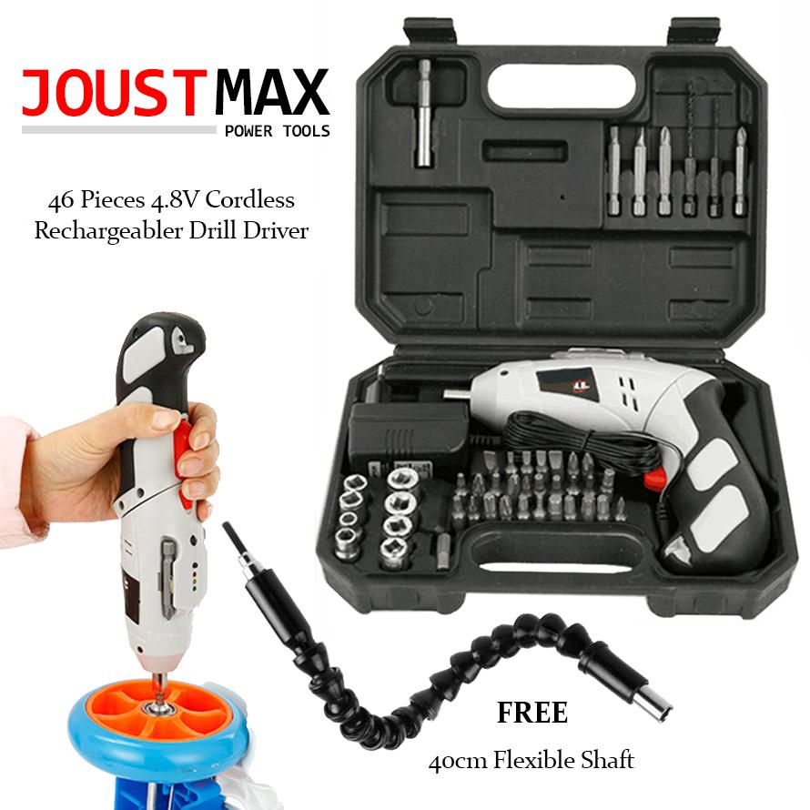 [Upgraded] 46pcs Drill Set 180 Spinable ElectricScrewdriver FREE Shaft