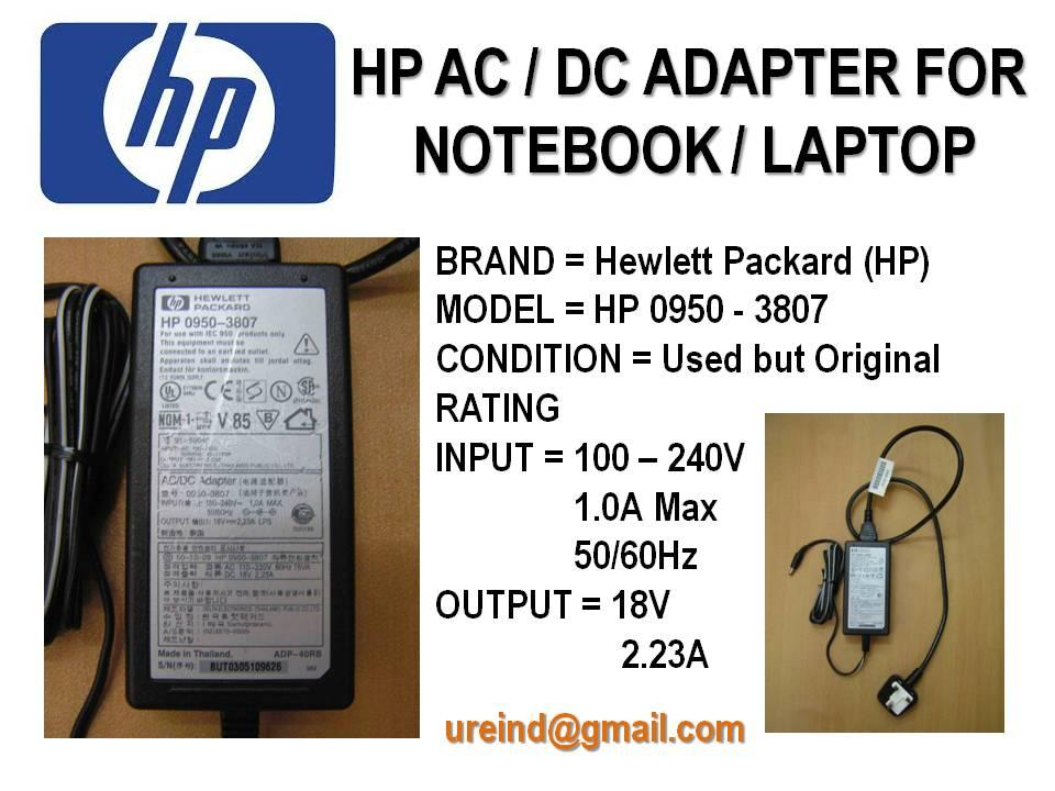 URE Used HP AC / DC Adapter for Notebook / Laptop