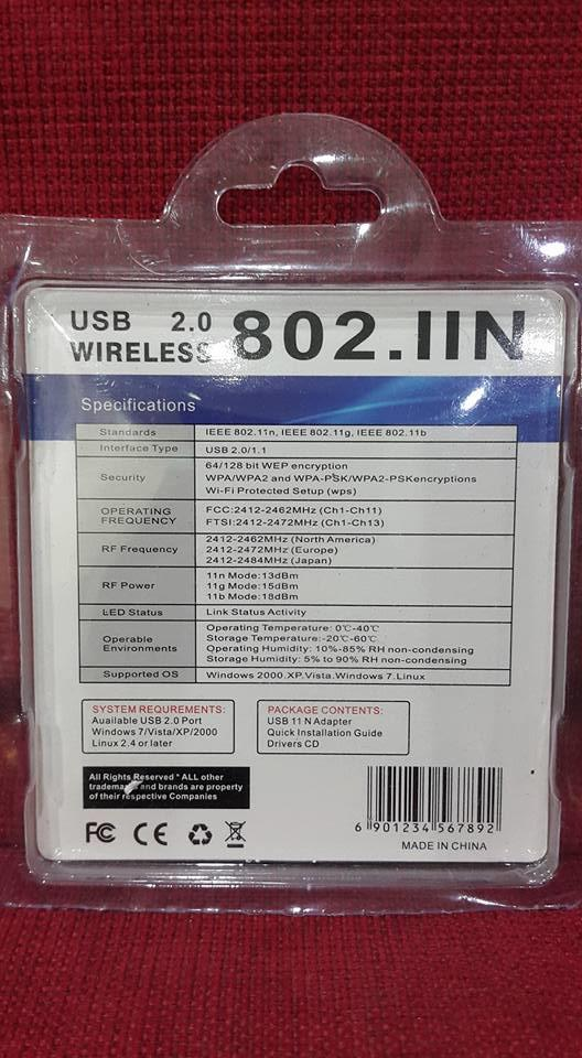 USB 2.0 Wireless 801.IIN