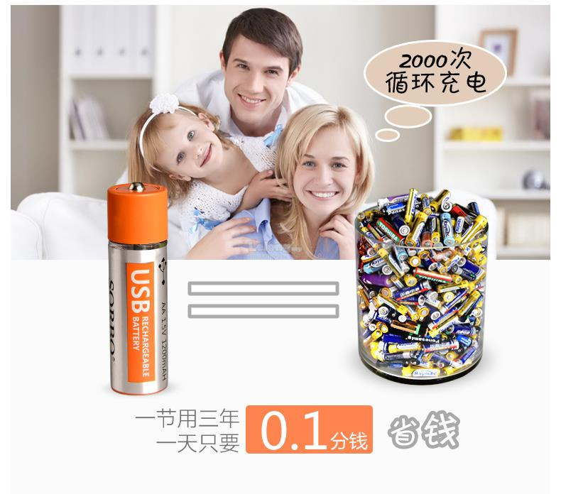 USB 2000+times Rechargeable AA battery 1.5V 1200mA lithium