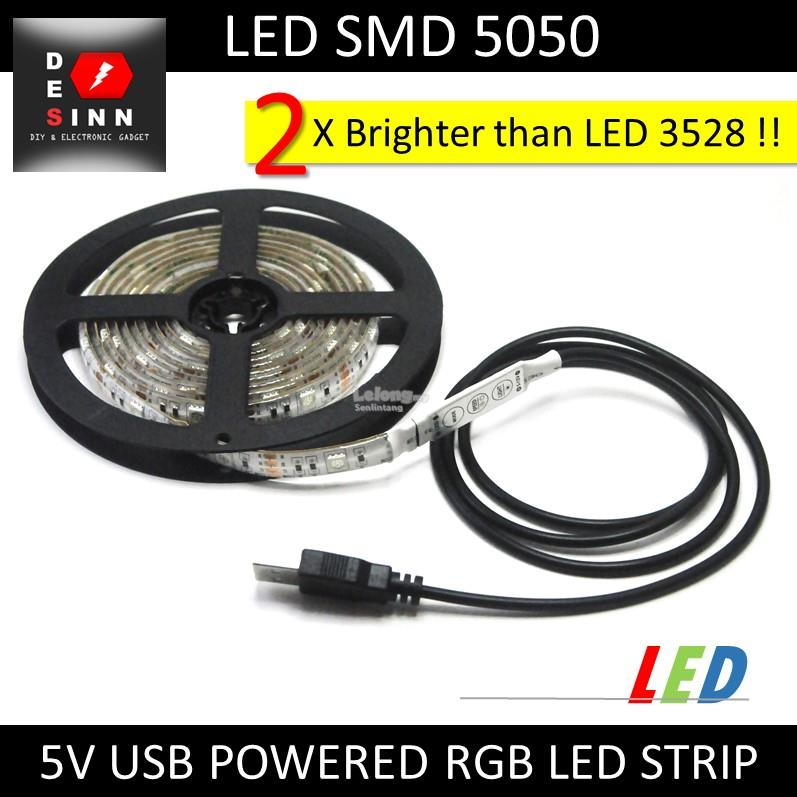USB 5V 2 Meters RGB 5050 LED Strip with RGB Control Button