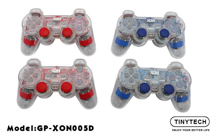 USB2.0 DOUBLE TRANSPARENT DUAL SHOCK VIBRATE GAMEPAD (XON005D)