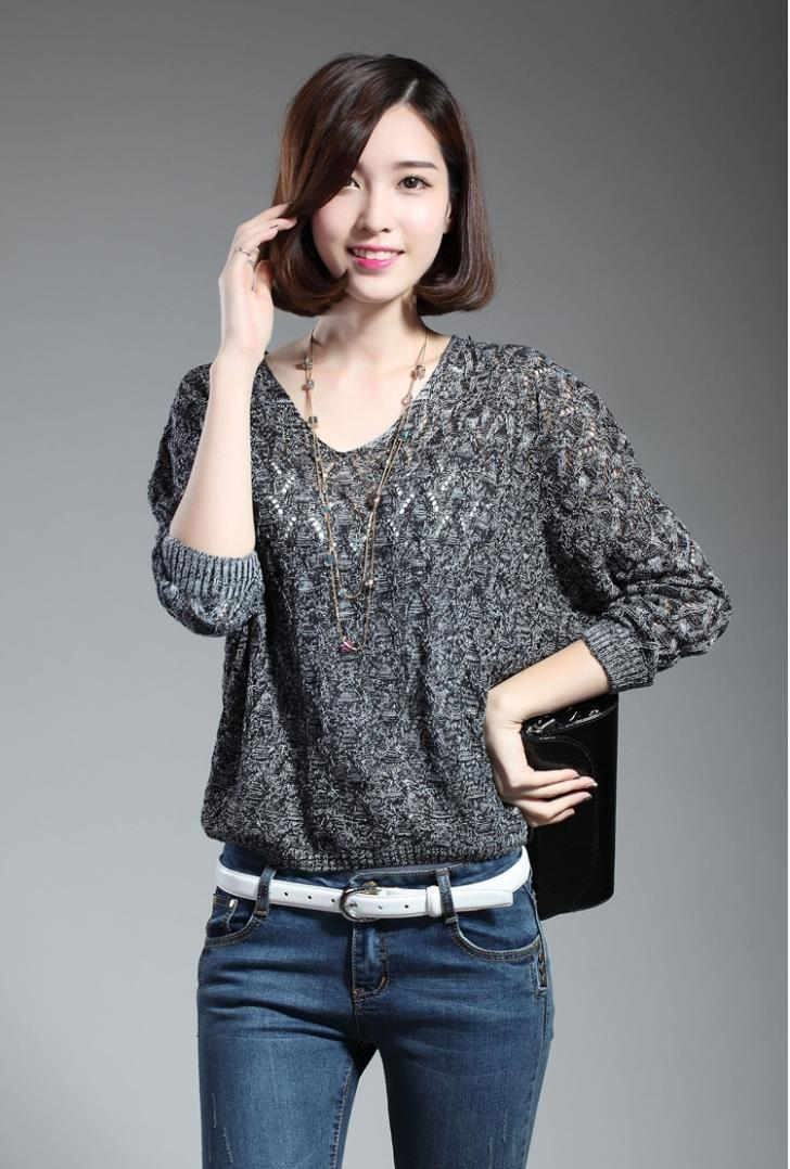 New~V-neck Loose Long Sleeve Knit Blouse (Dark Grey)