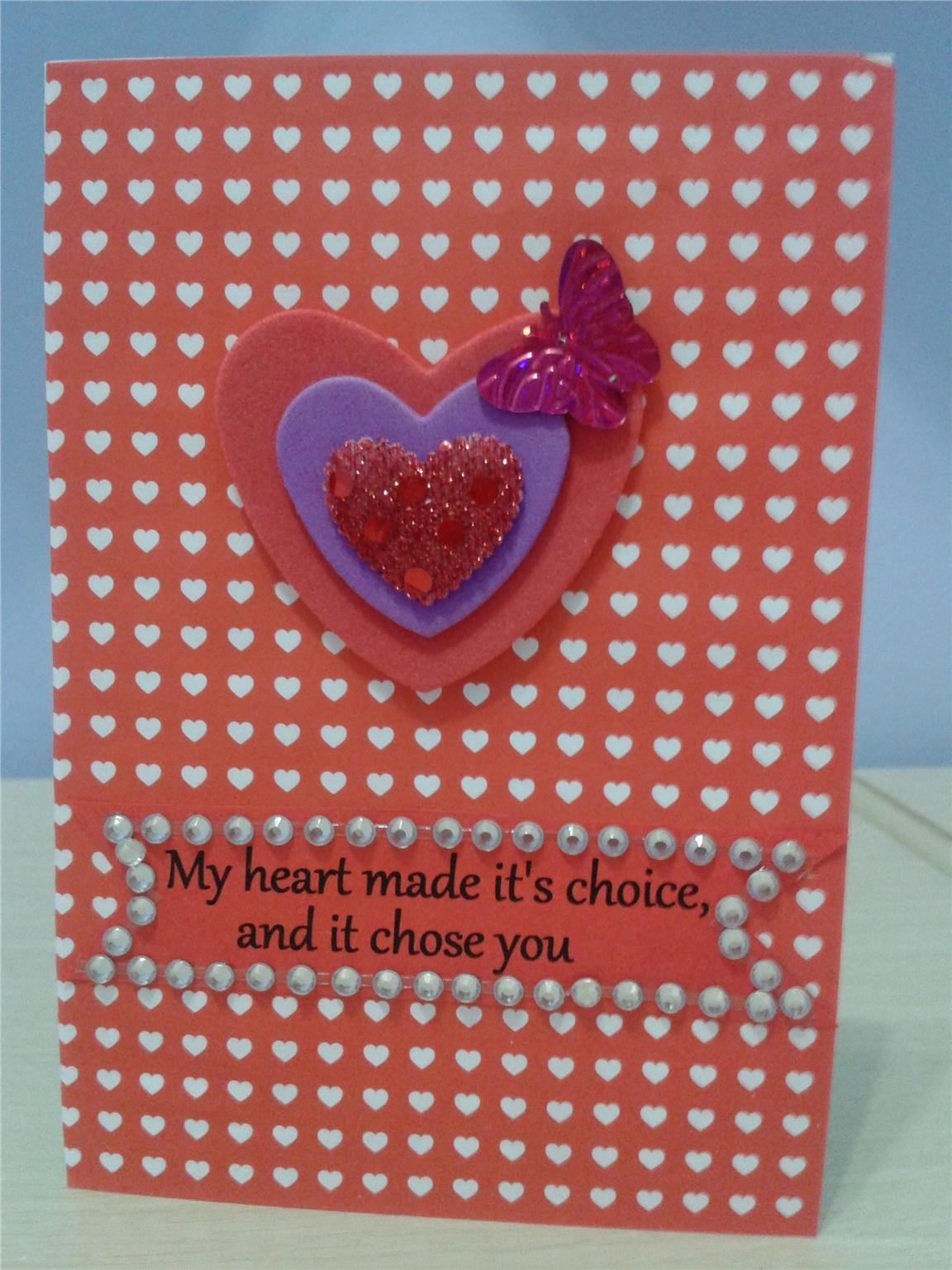 VALENTINE CARD - 3 HEARTS & BUTTERFLY