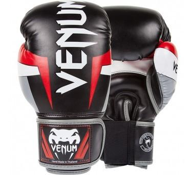 VENUM ELITE BOXING GLOVES - BLACK/RED/GREY - 14 oz