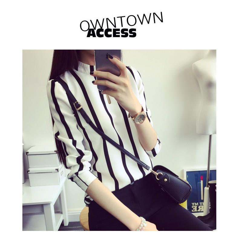Vertical Stripe Chiffon Long Sleeve Top (iKR051981)