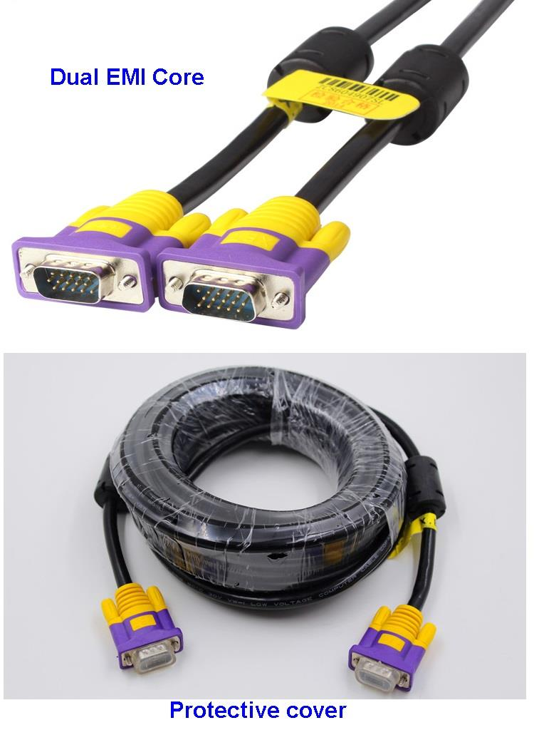 VGA Cable 10M 3+6 Cable Male to Male High quality HD Display 720