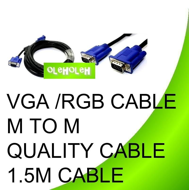 VGA/RGB Cable M to M Quality Cable With 2 Core 1.5m Cable