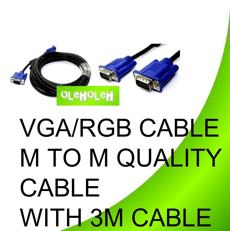VGA/RGB Cable M to M Quality Cable With 2 Core 3m Cable