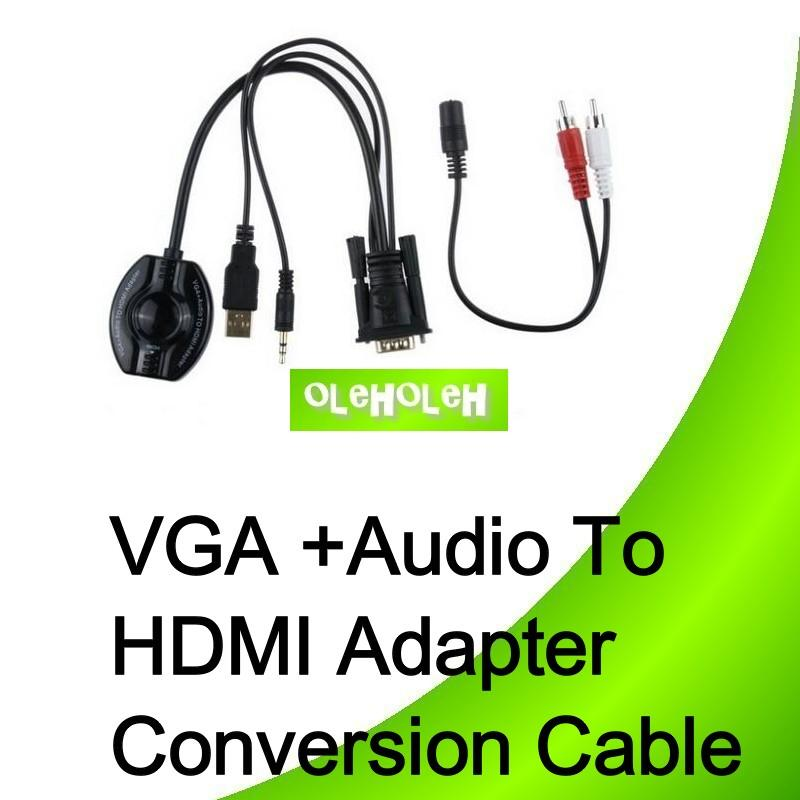 VGA To HDMI With Audio Adapter Conversion Cable