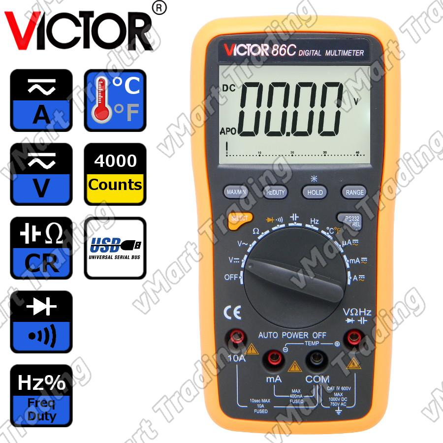 VICTOR 86C Digital Multimeter with Real-time USB Data Logging