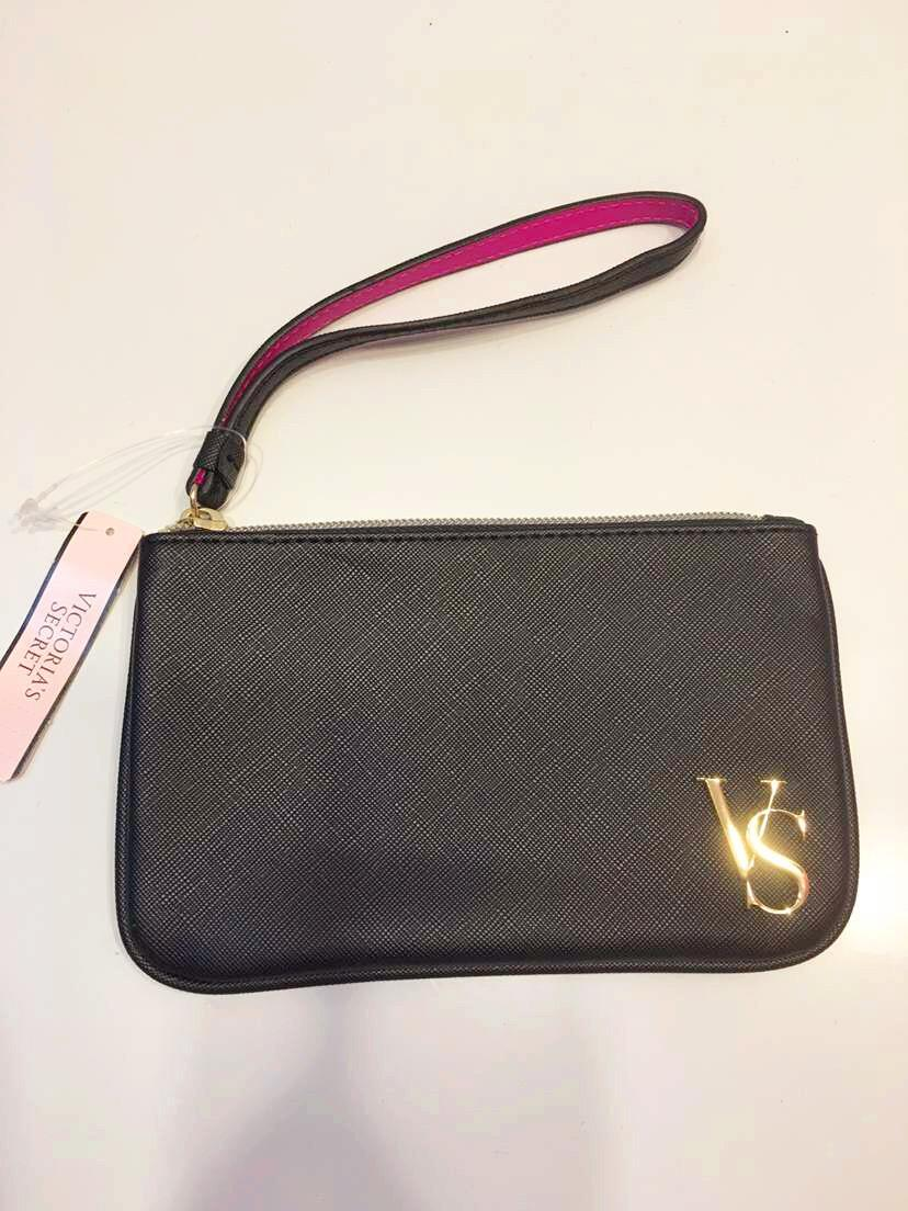 Victoria's Secret BLACK PU LEATHER WRISTLET NWT