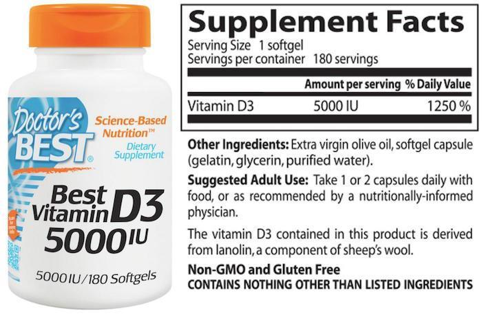 Vitamin D3 5000IU 180 Softgel (Bone, Immune, Breast, Colon Health) USA
