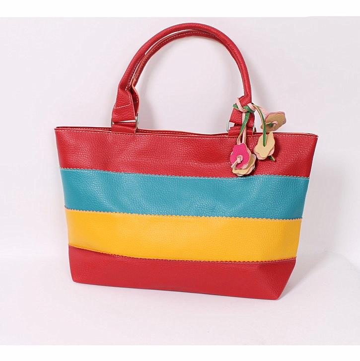 Vogue Color Block Stripe Flower Pendent Bag