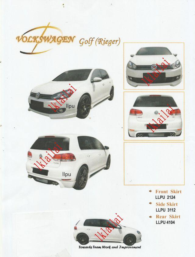 Volkswagen VW Golf 6 PU Material Body Kit [Skirt+Spoiler] Painted