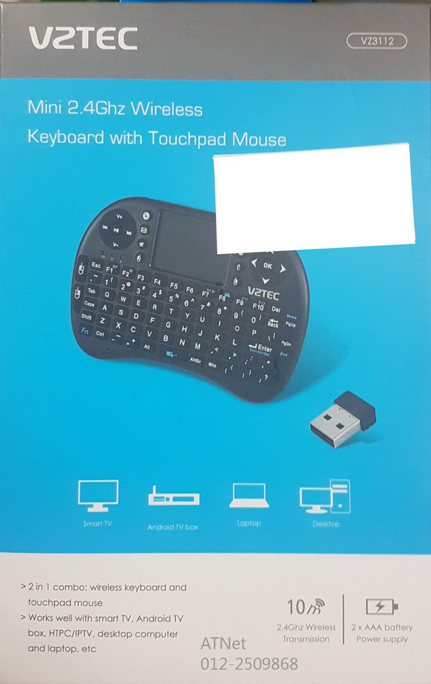 VZTEC MINI 2.4GHZ WIRELESS KEYBOARD TOUCHPAD MOUSE VZ3112