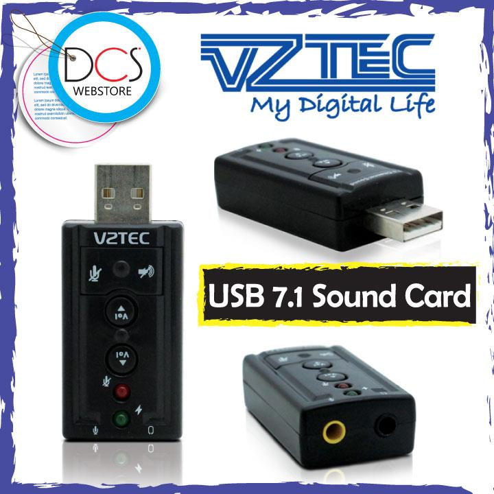 Vztec USB2.0 7.1 Channel Sound Adapter with LED Indicator USB Powered