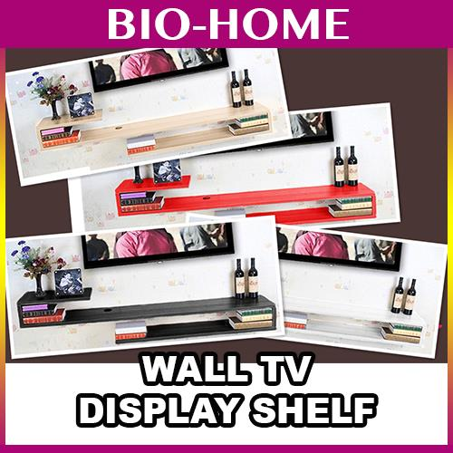WALL ATTACHED IKEA TV TELEVISION RACK DISPLAY SHELF WOODEN SIMPLE NICE