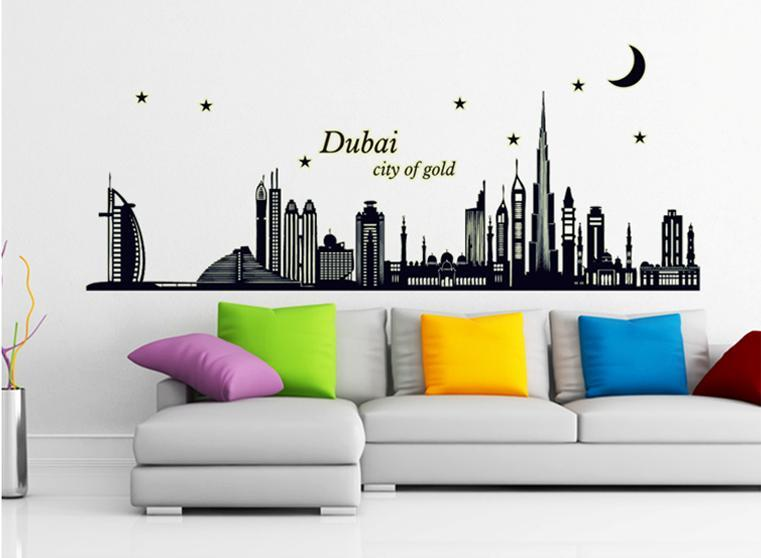 wall sticker dubai city of gold tower building moon night glowing