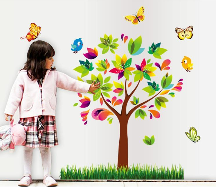 wall sticker tree birds butterfly grass children & kiddish series