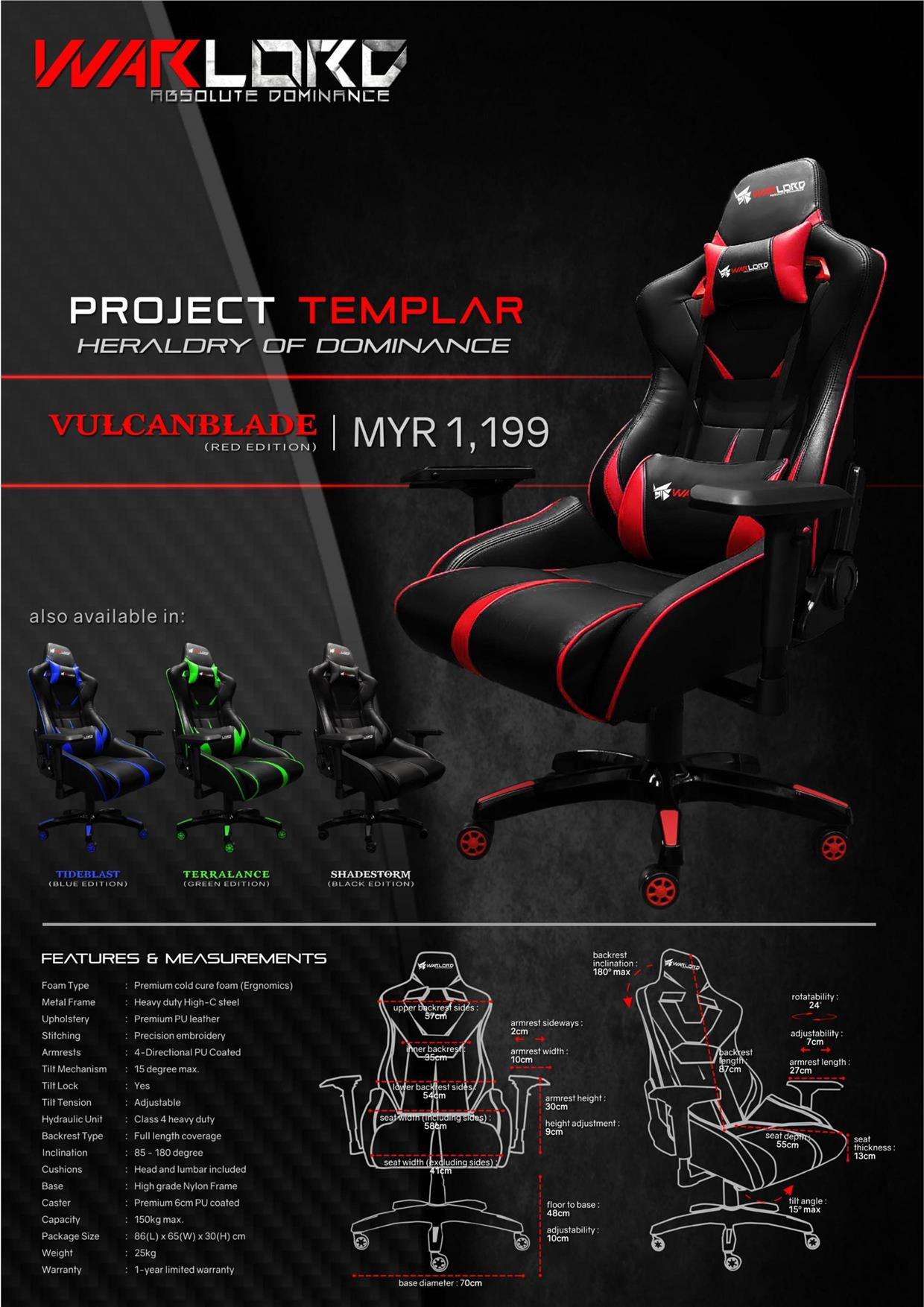 Warlord Project Templar Gaming Chair