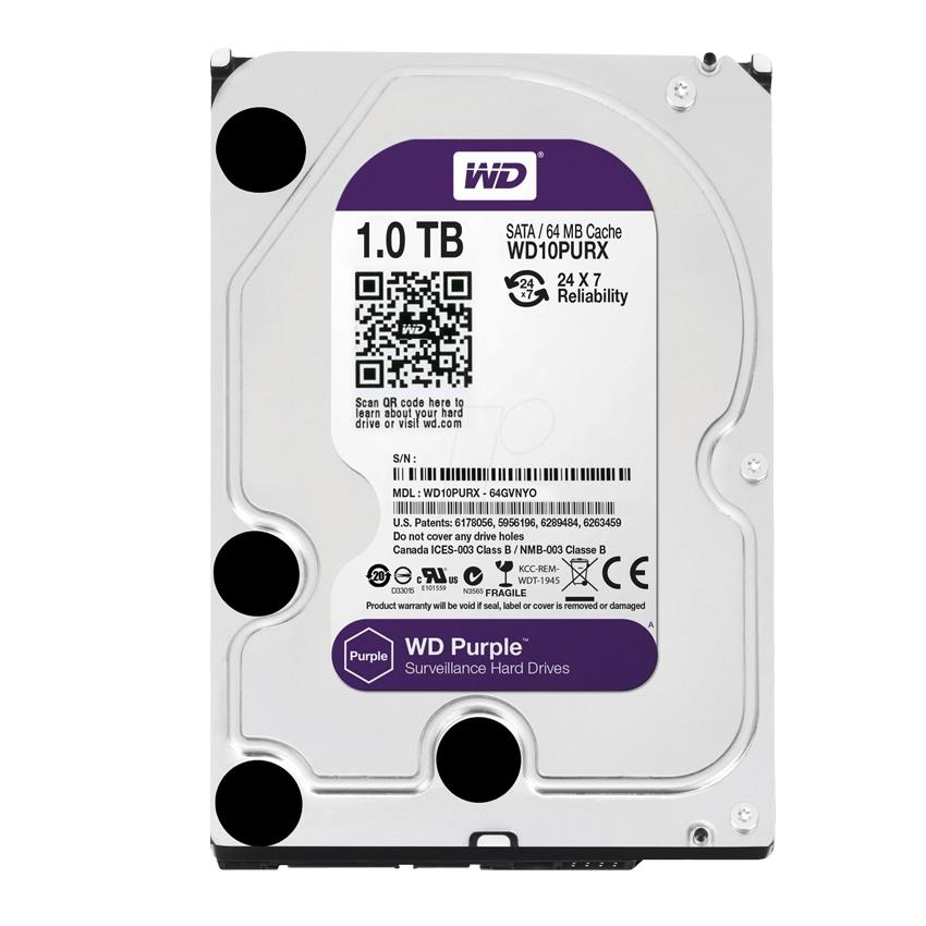 WD 1TB Desktop Hard Disk 3.5' (Sata) Purple Surveillance (CCTV)