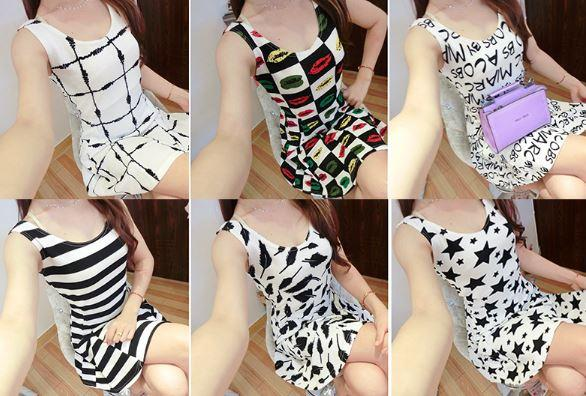 WD20 Korean Style Stripe Back Tie Shortsleeve Dress