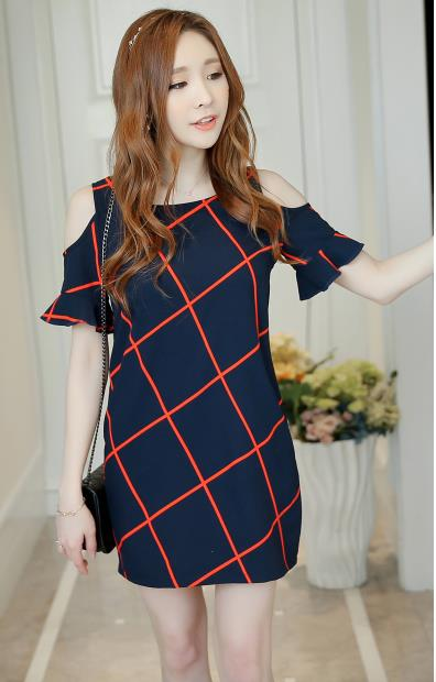 WD3727 Fashion Stylish Dress Dark Blue