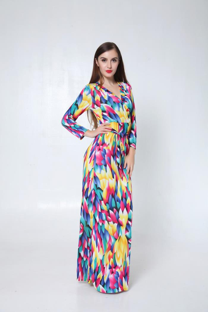 WD6448 Fashion Colourful Dress As Picture