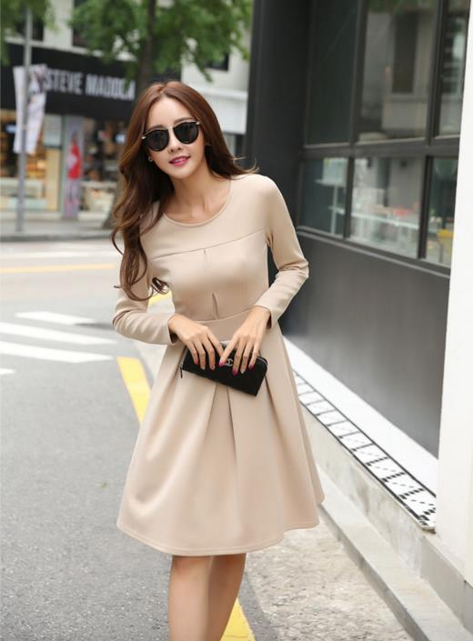 WD6655 Elegant Fashion Dress Apricot