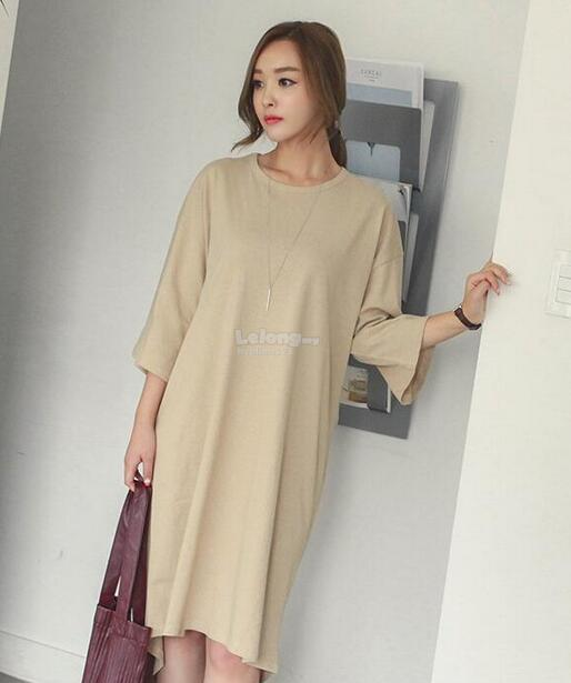 WD7372 Fashion Casual Dress Beige