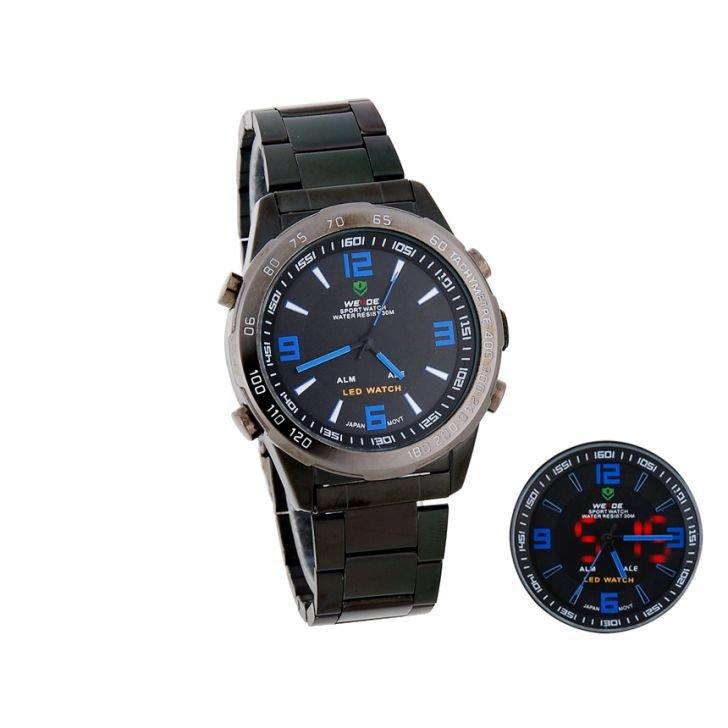 Weide Dual Time Led Sport Watch Black Blue