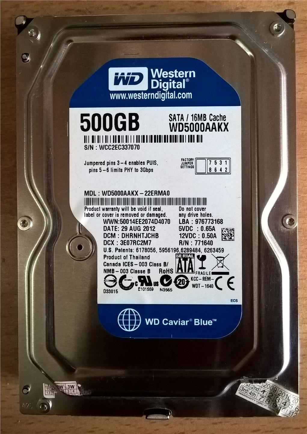 Western Digital 3.5' Caviar Blue SATA Hard Disk -- 500GB --