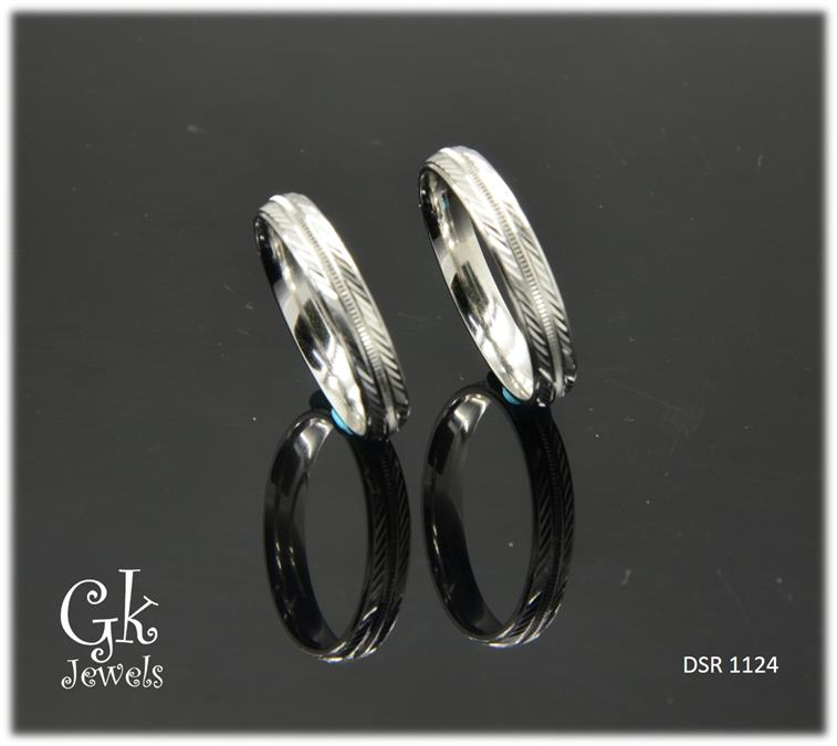 White Gold On 925 Silver Couple Ring per pair DSR 1124
