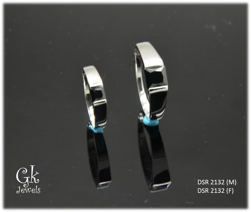 White Gold On 925 Silver Couple Ring per pair DSR 2132