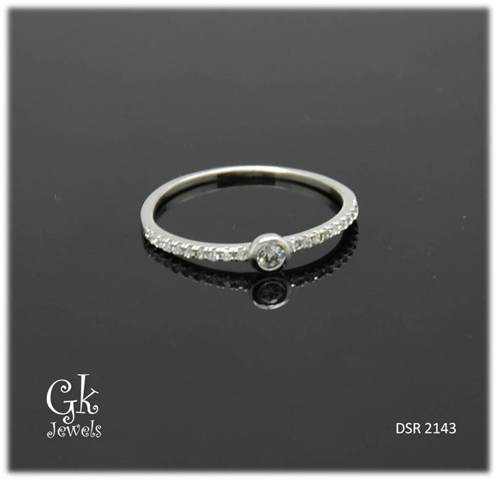 White Gold On 925 Silver Ring DSR 2143