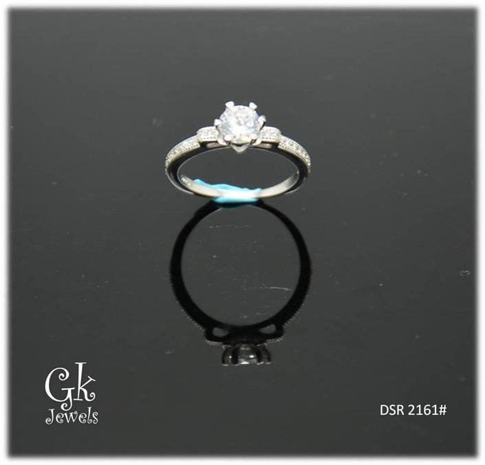 White Gold On 925 Silver Ring DSR 2161#