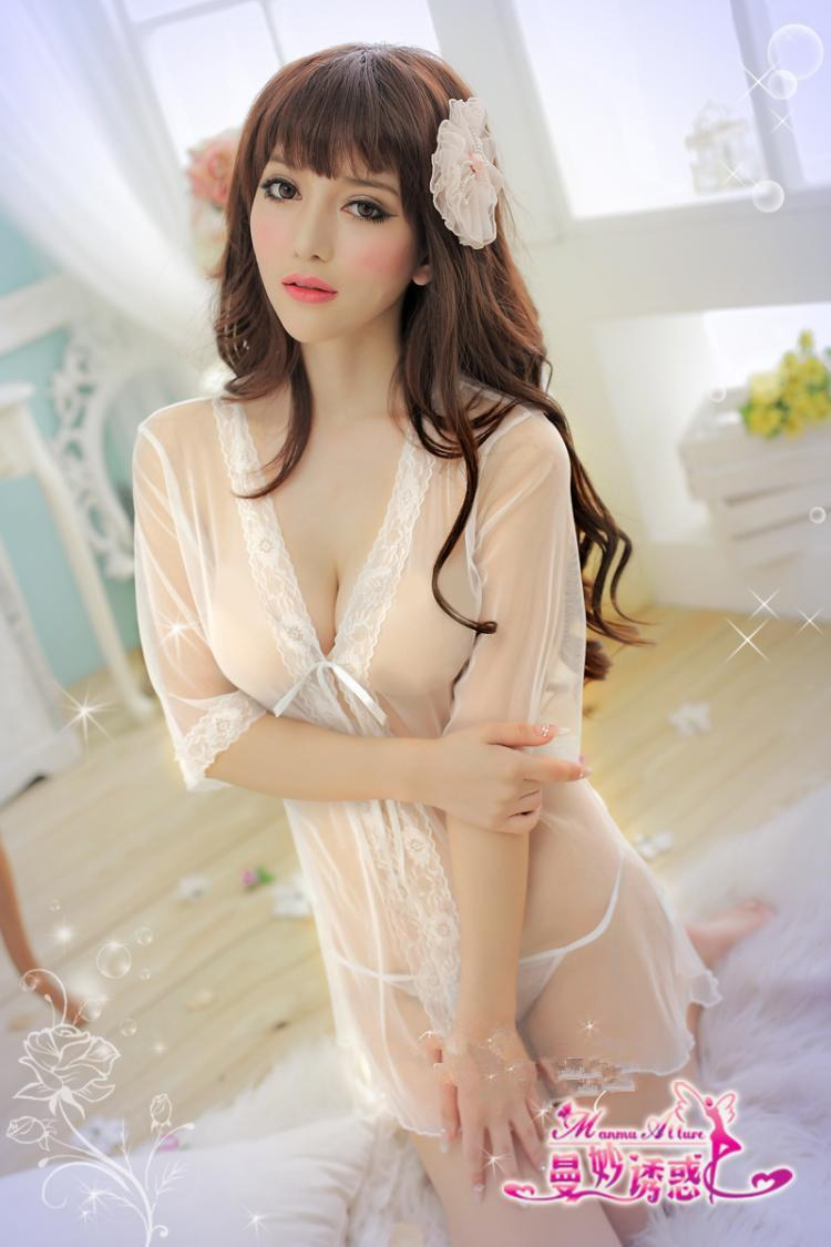 White Lace See Through Robes Babydoll Dress + G-string  Sleepwear Ling