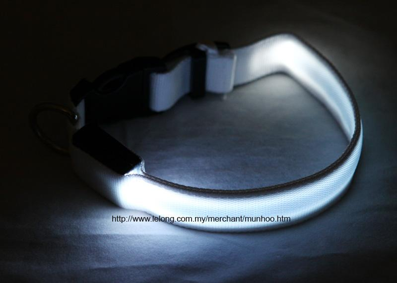 White LED Pet Dog Neck Collar Strap Chain Buckle Lock Size S
