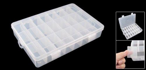 White Plastic 24 Slots Electronic Components Storage Case Organizer