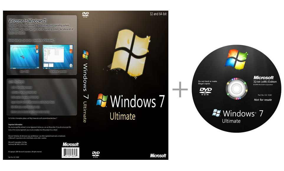 Windows 7 ultimate 32-bit + 64-bit installation cd with activator