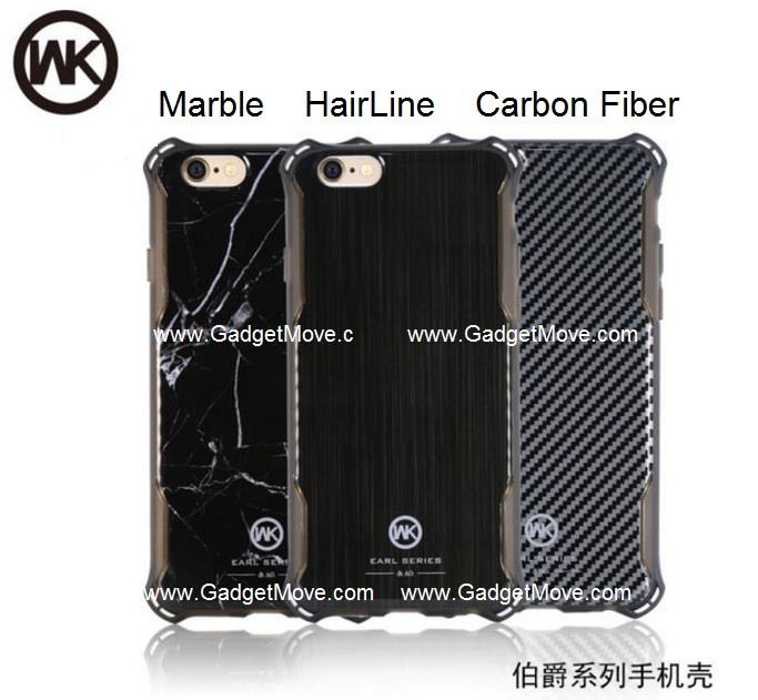 WK iPhone 7 / 7 Plus Carbon Fiber Fibre Marble Back Case Cover