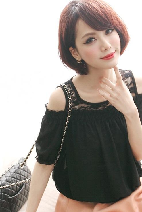 Women Fashion Two Piece Lace n Chiffon Blouse
