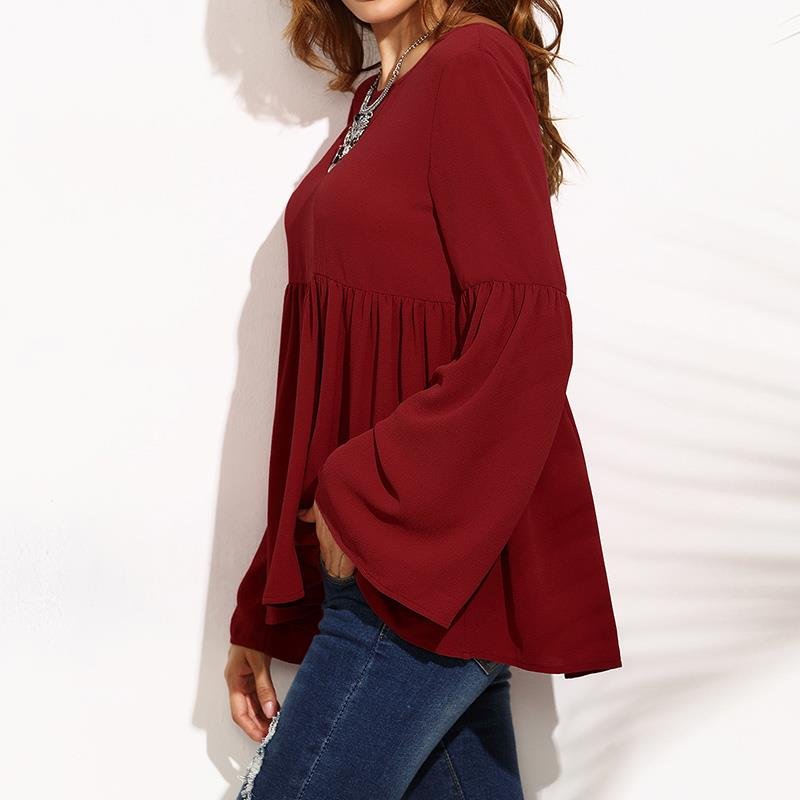 Women Flare Sleeve O Neck Blouses Casual