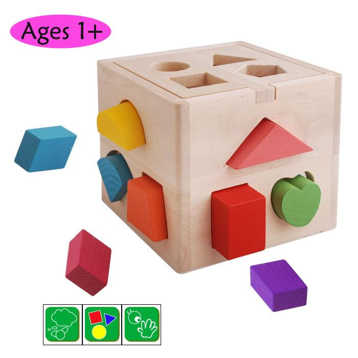 Wooden Toy Toys Shape Sorter Box Block Kids Children Educational Gift